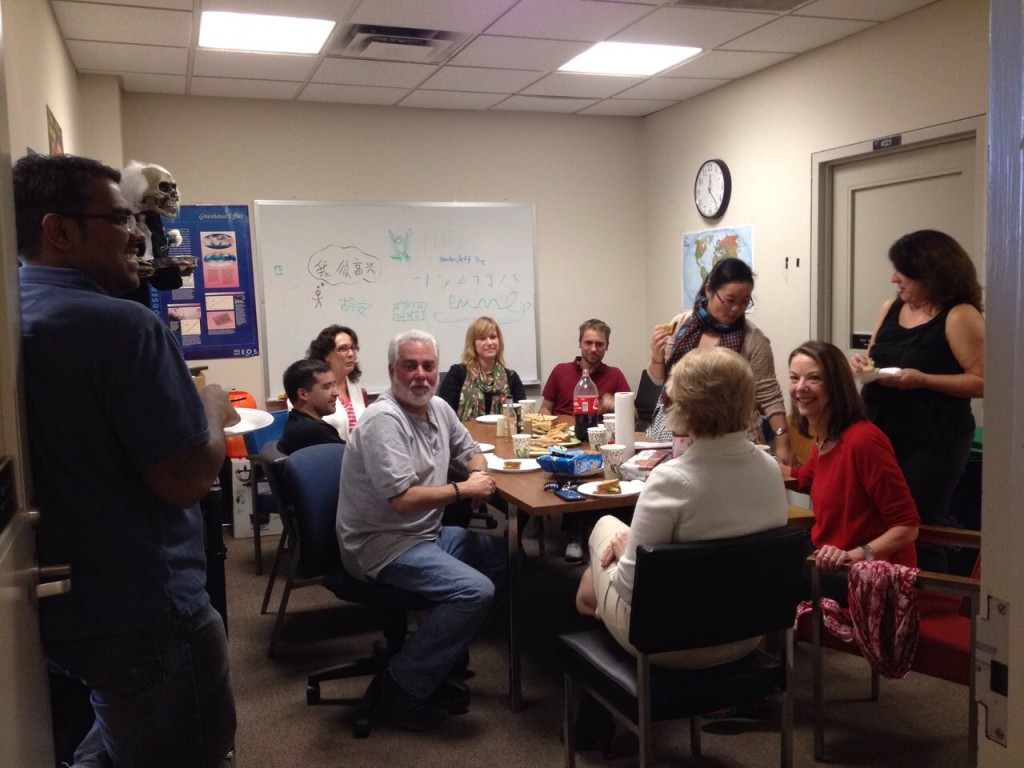 Halloween and farewell celebration with the Lederman group. (Prof. Lederman first from the left, sitting)