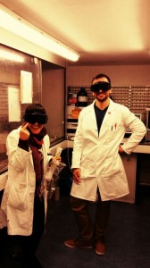 Safety first! My colleague and I putting on proper UV-safety eyewear before setting up the Xenon lamp.