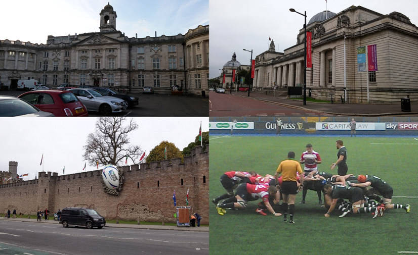 "Top: The chemistry department of Cardiff University (left) and the National Museum Cardiff (right). Bottom: Rugby ball ""smashed"" into the wall of Cardiff Castle due to the Rugby World Cup 2016 (left) and the two teams Cardiff Blues (in red) and Nottingham playing against each other in the British & Irish Cup."